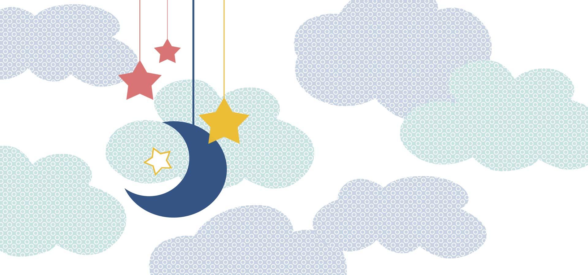 sfondo cartolina fiabaluna con nuvole, stelle, luna